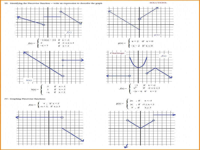 Best Solutions Piecewise Functions Worksheets Summary