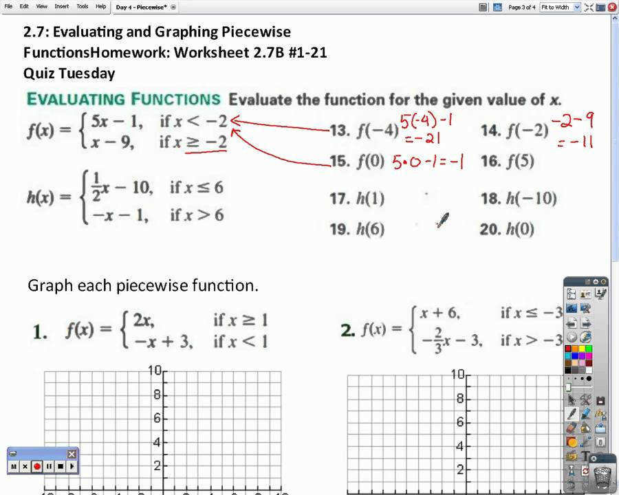Honors Algebra 2 Piecewise Functions