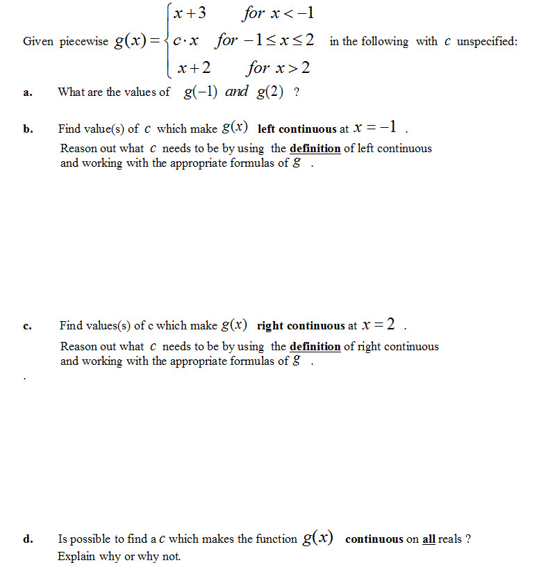 continuity of piecewise worksheet
