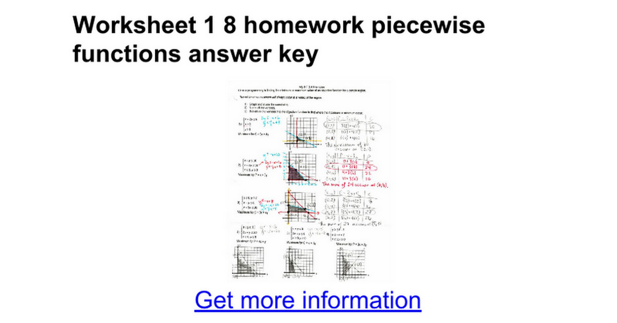 worksheet 1 8 piecewise functions answer key kidz activities. Black Bedroom Furniture Sets. Home Design Ideas