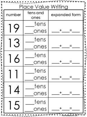 10 Place Value Worksheets Writing Tens and es and Expanded Form KDG 1st Grade