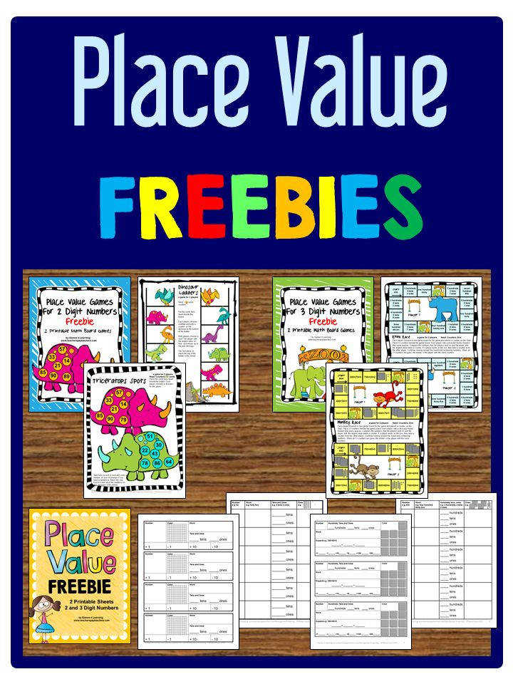 Place Value FREEBIES Printable board games and worksheets for 2 and 3 digit numbers
