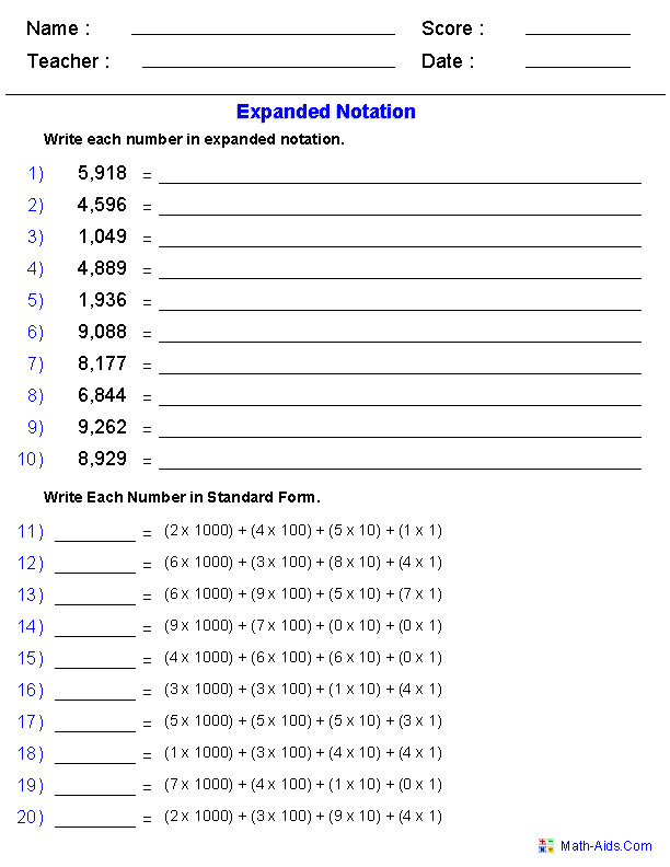 Expanded Notation Using Integers Place Value Worksheets