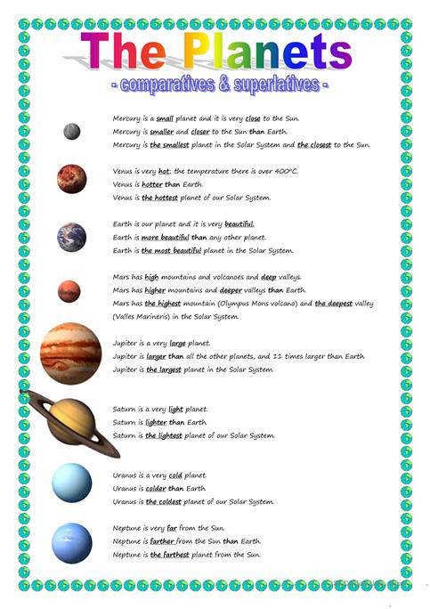 The Planets parative & superlative