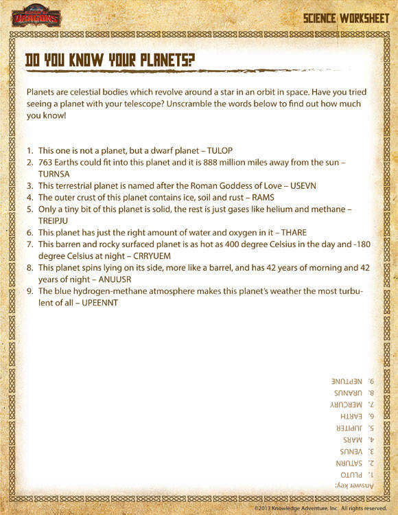 Do you Know Your Planets Printable Science Worksheets