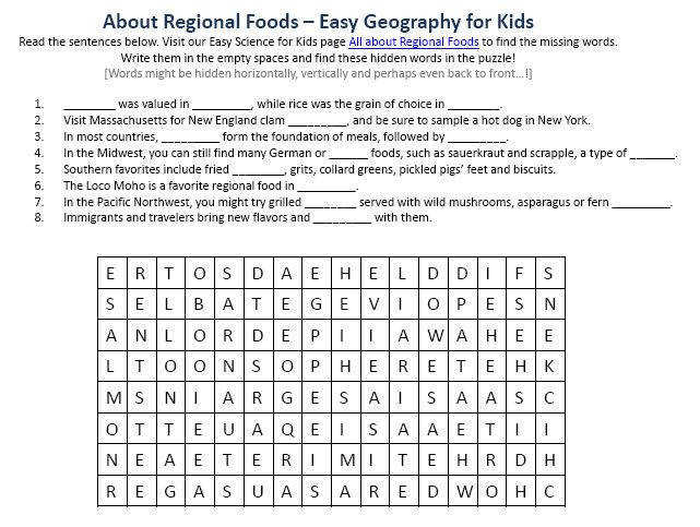 Image of Regional Foods Worksheet – Free Planet Earth Worksheets for Kids