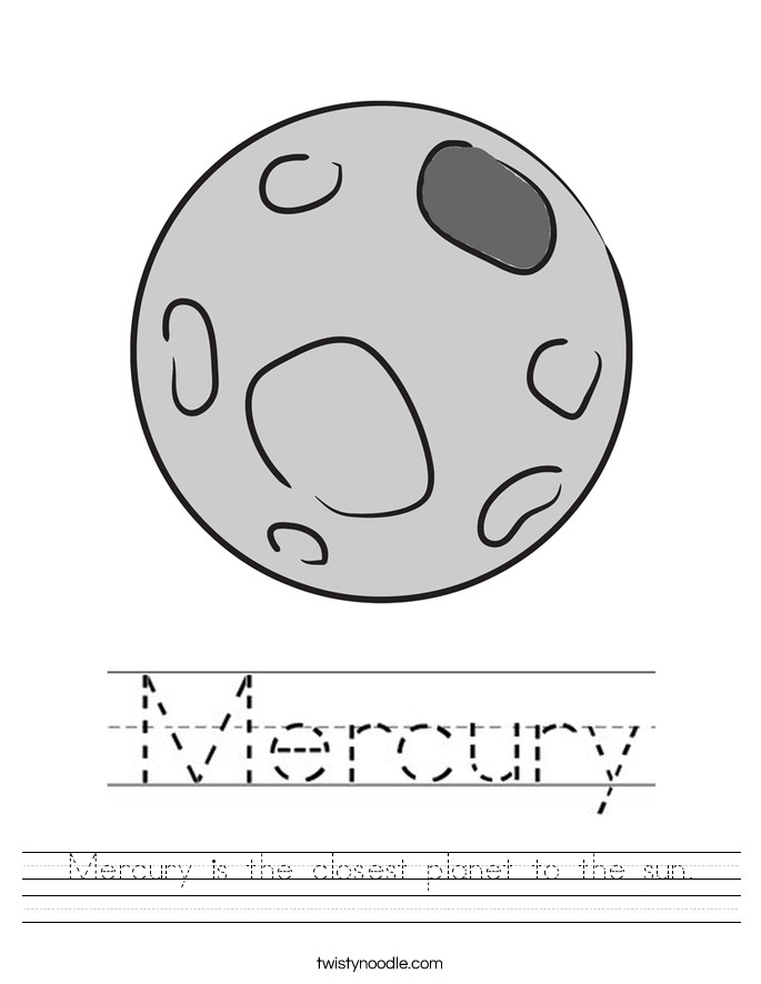 Mercury is the closest planet to the sun Worksheet