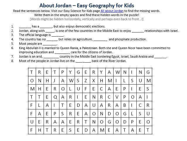 Image of Jordan Worksheet – Free Planet Earth Worksheets for Kids