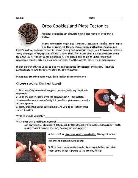 Oreo Cookies and Plate Tectonics 5th 8th Grade Worksheet