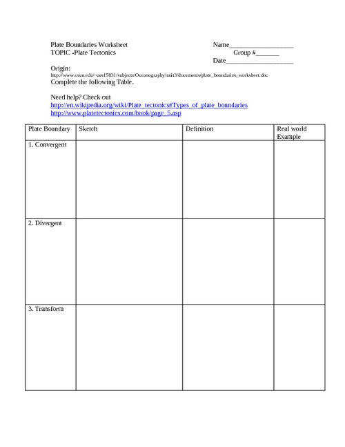 Image of Tectonic Plates Worksheet Geography Find the Hidden