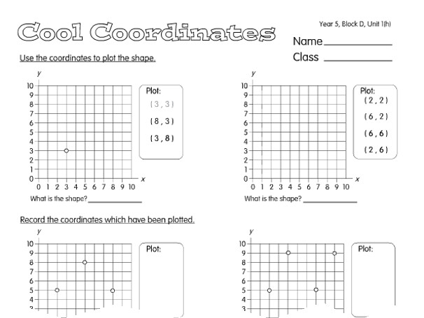 Preview of Cool Coordinates A year 5 coordinates worksheet