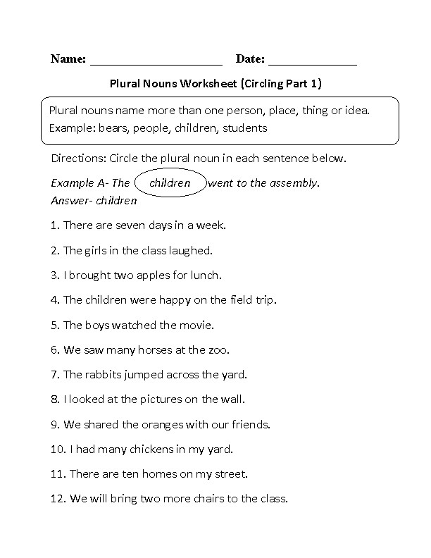 Plural Nouns Worksheet