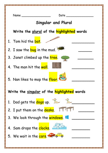 Spellings Singular Nouns into Plurals and Vice Versa Presentations & Worksheets Activities by Ro Milli0110 Teaching Resources Tes