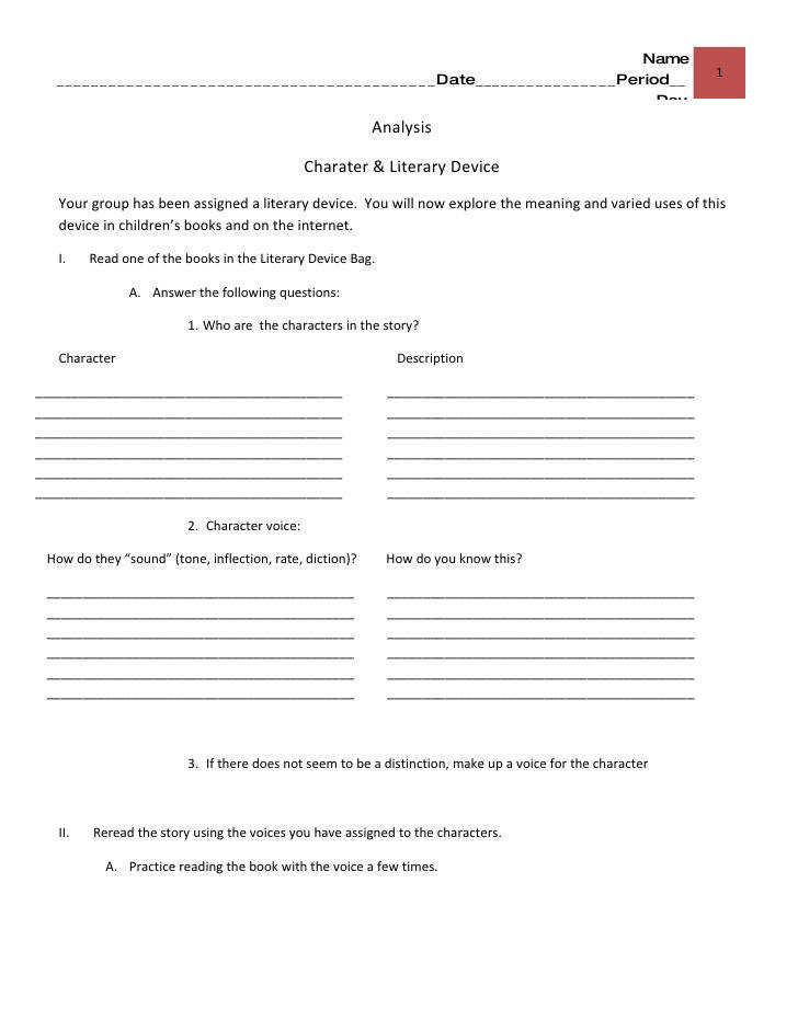 Literary devices bags analysis worksheet Name
