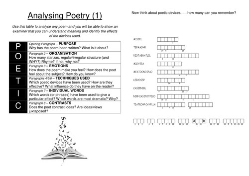 ANALYSING POETRY poetic devices and acronym to analyse any poem TWO WORKSHEETS by lesley1264 Teaching Resources Tes