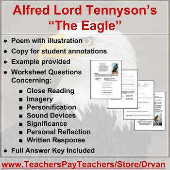 """The Eagle"" by Alfred Lord Tennyson poetry analysis worksheet"