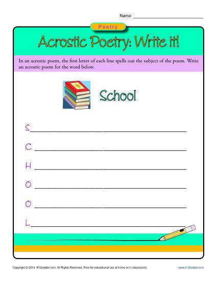 Acrostic Poetry Worksheet Activity Write It