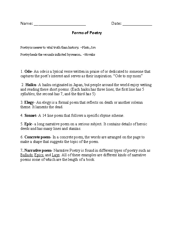 Forms of Poetry Worksheet
