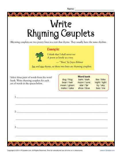 Poetry Worksheet Activity Write Rhyming Couplets