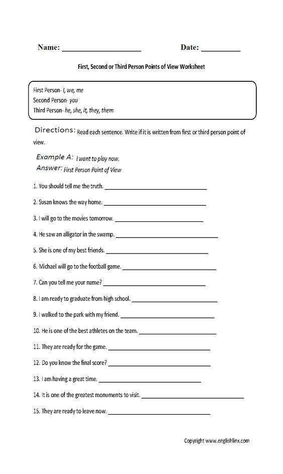 Point of View Worksheet Reading Pinterest