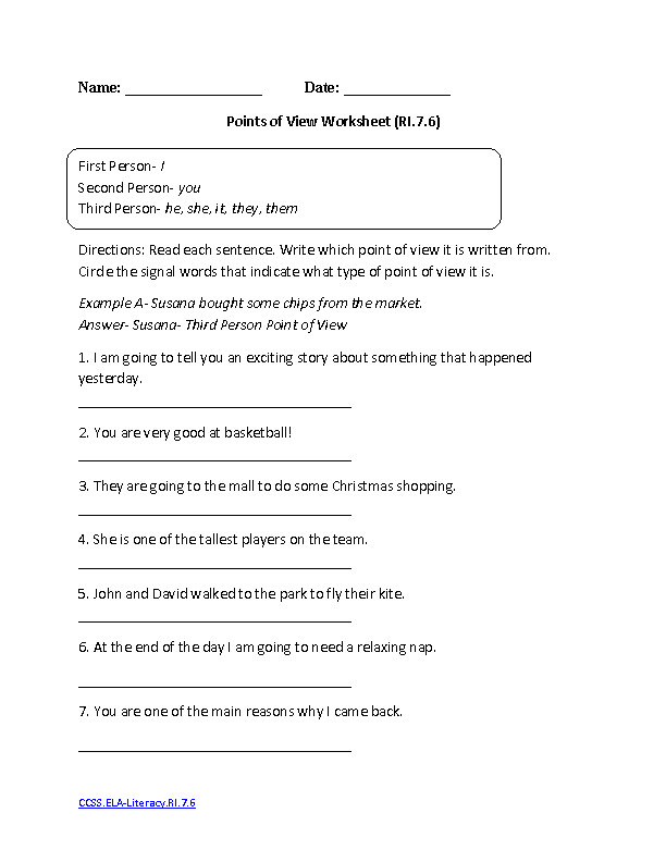 Points of View Worksheet ELA Literacy RI 7 6 Reading Informational Text Worksheet