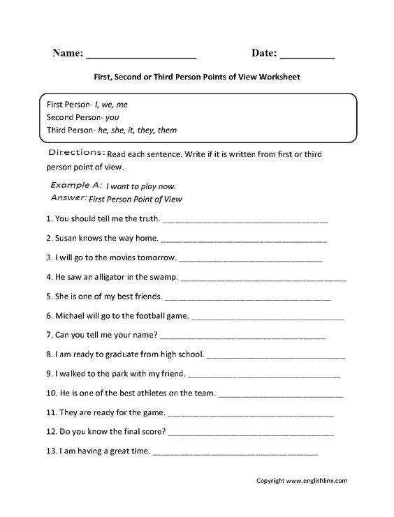 First Second or Third Person Points of View Worksheet Englishlinx Board