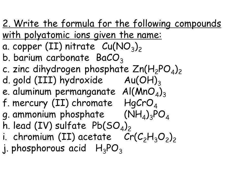 Polyatomic Ions Worksheet Homeschooldressage. Write The Formula For Following Pounds With Polyatomic Ions Given Name Worksheet 2 Answers. Worksheet. Chemistry Ionic Pounds Polyatomic Ions Worksheet Answers At Clickcart.co