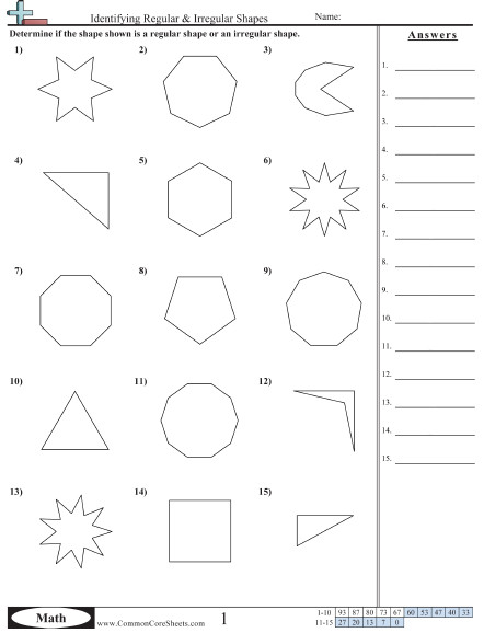 Identifying Regular & Irregular Shapes worksheet