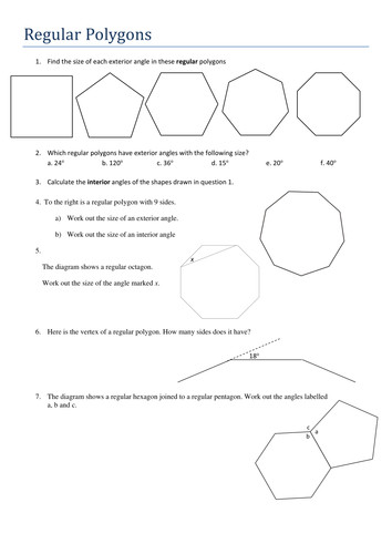 KS4 Maths Angles in Regular Polygons Worksheet