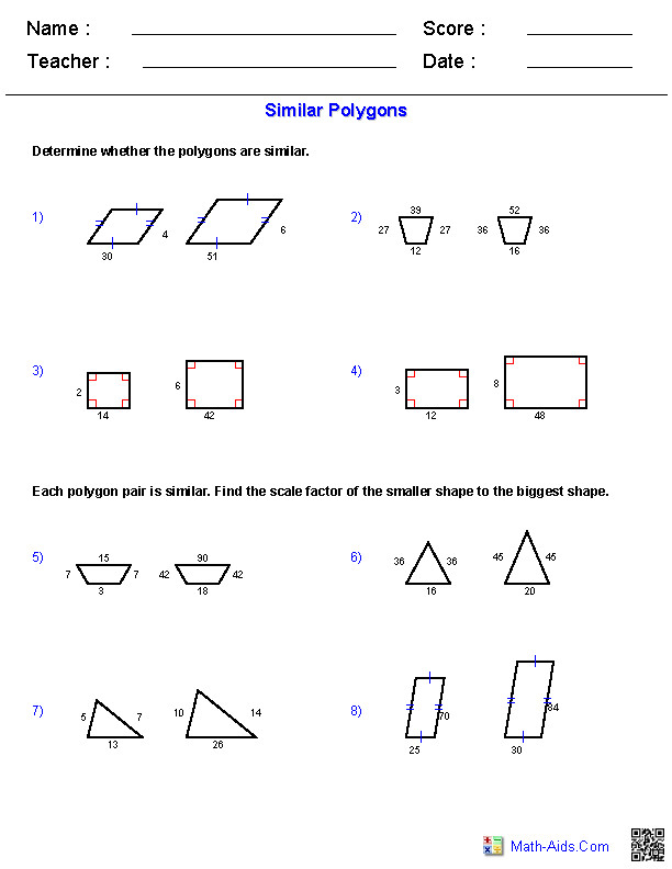 Similar Polygons Worksheets