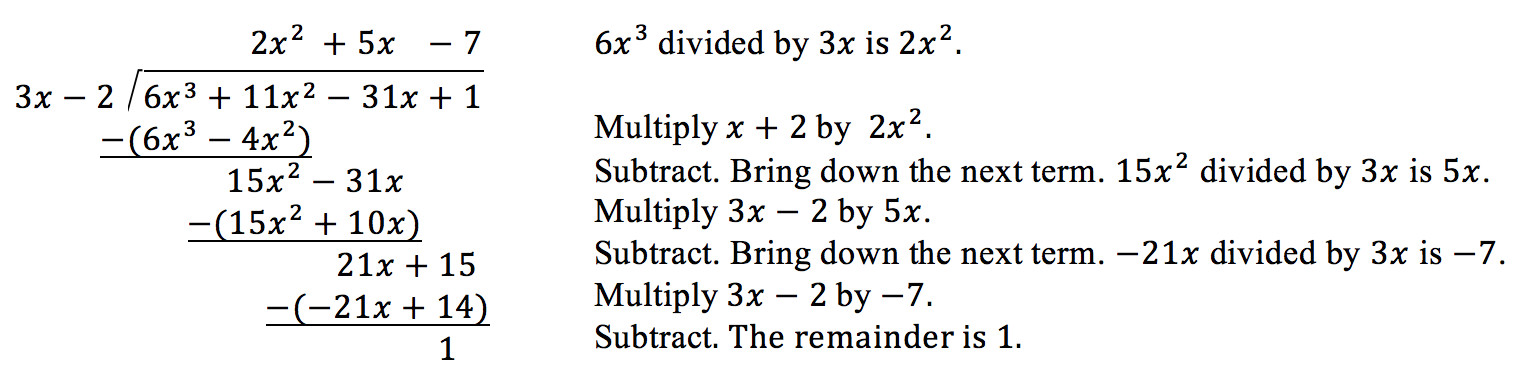 6x cubed divided by 3x is 2x squared Multiply the sum of x and 2