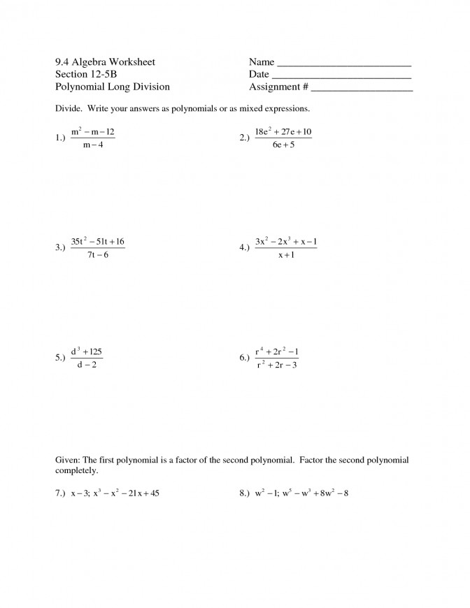 Synthetic Division Worksheet Dividing Polynomials Algebra 2 Long With Answers Polynomial Worksheet Long Division Worksheets With