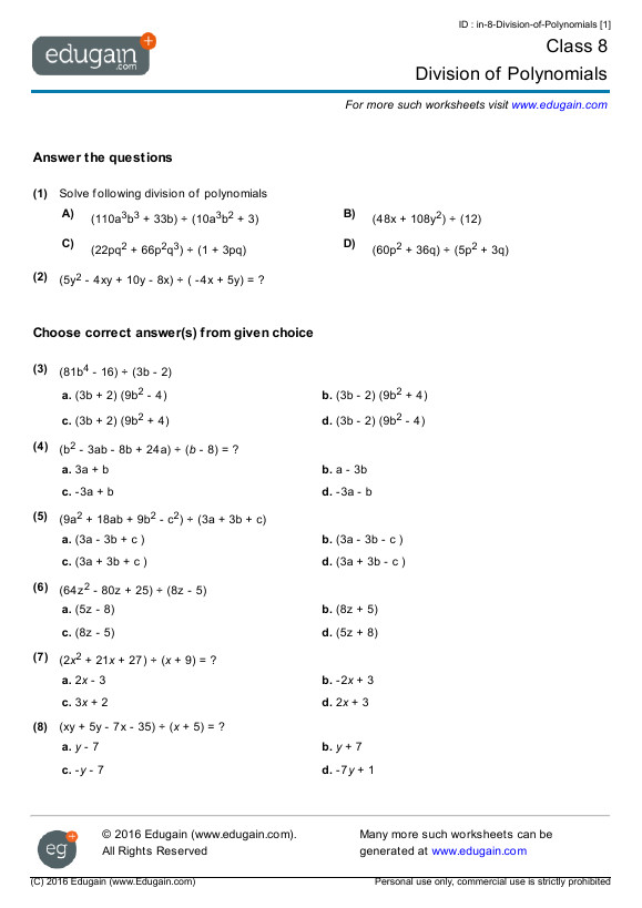 Contents Division of Polynomials