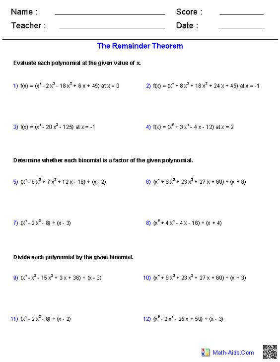 Polynomial long division remainder theorem ision synthetic and factor theor Worksheets