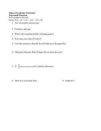 Honors Precalculus Worksheet Polynomial Functions No