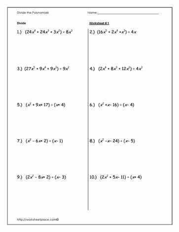 Dividing Polynomials with Long Division Worksheets