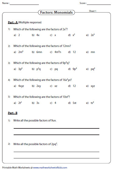 Factoring Polynomials Worksheet With Answers Algebra 2 Monomial Great