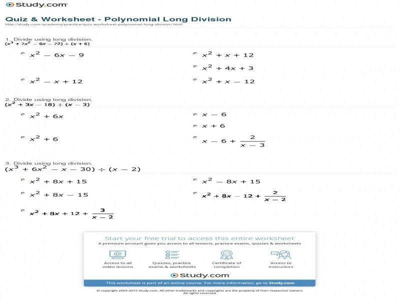 Quiz & Worksheet Polynomial Long Division