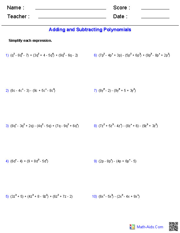 Polynomials Worksheet