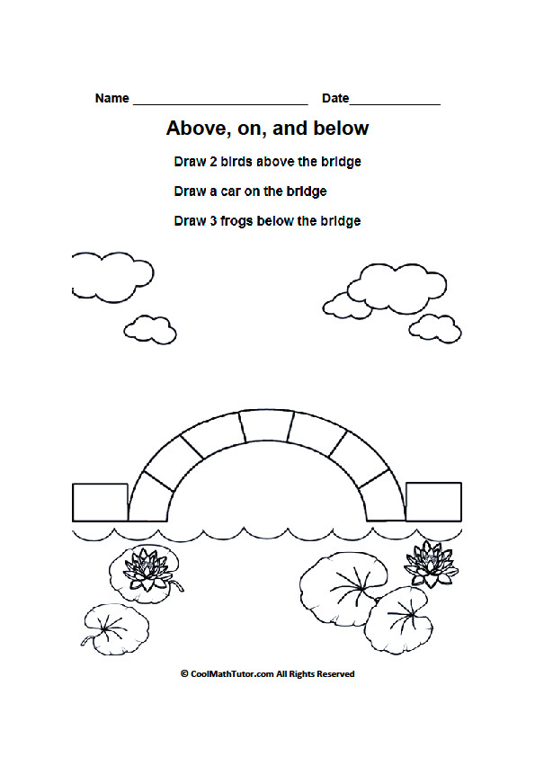 High Quality Images For Positional Words Worksheets For Preschool