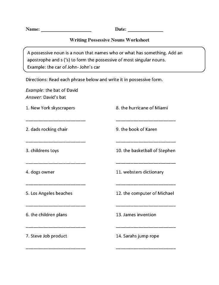 This possessive nouns worksheet directs the student to read each phrase below and write it in possessive form