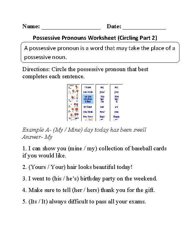 Circling Possessive Pronouns Worksheet Part 2 Beginner