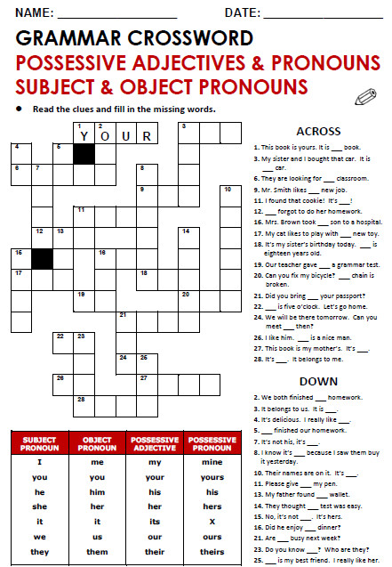 Grammar Crossword Possessive Adjectives & Pronouns Subject & Object Pronouns
