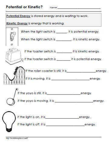 Potential and Kinetic Energy Worksheet