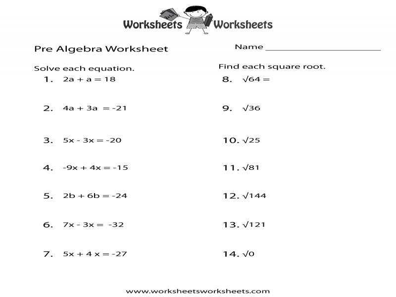Pre Algebra Worksheet Homeschooldressage