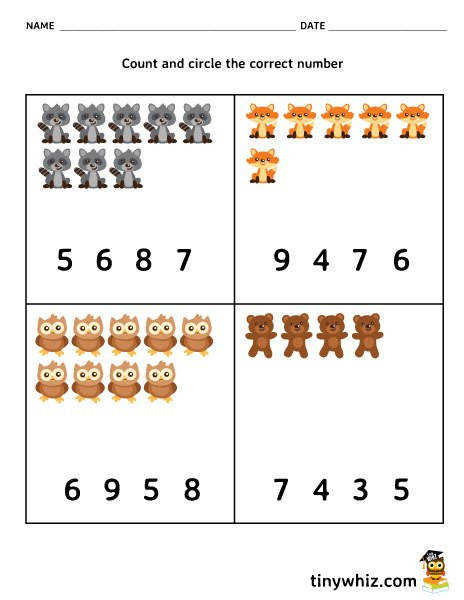 Math Free Counting Worksheet For Pre K and Kindergarten