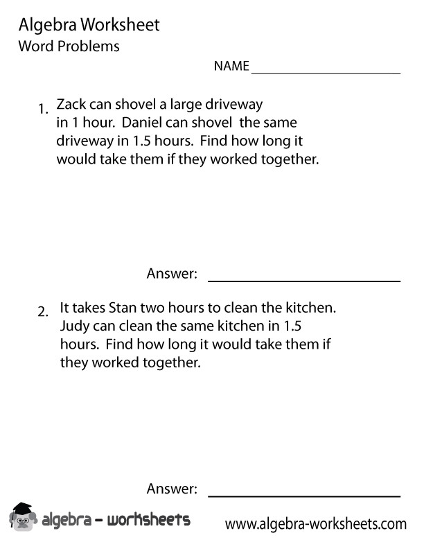 Pre Algebra Word Problems Worksheet