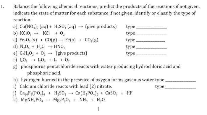 Predicting Products Chemical Reactions Answers Predictive