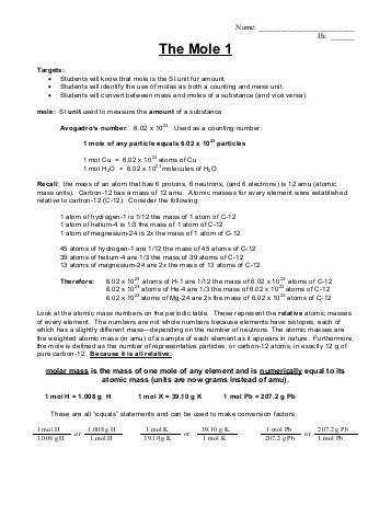 01 22 13 The Mole 1 Homework ACh pdf Whitnall High School