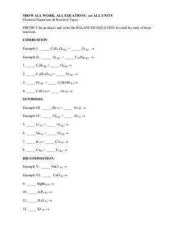De position And Synthesis Reactions Worksheet